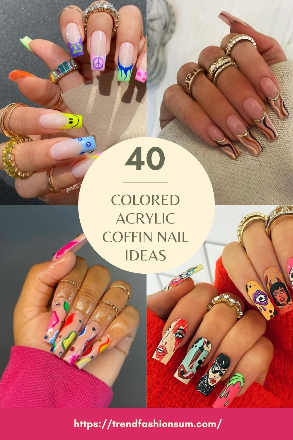 Awesome Colored Acrylic Coffin Nails For Summer Nail Designs!