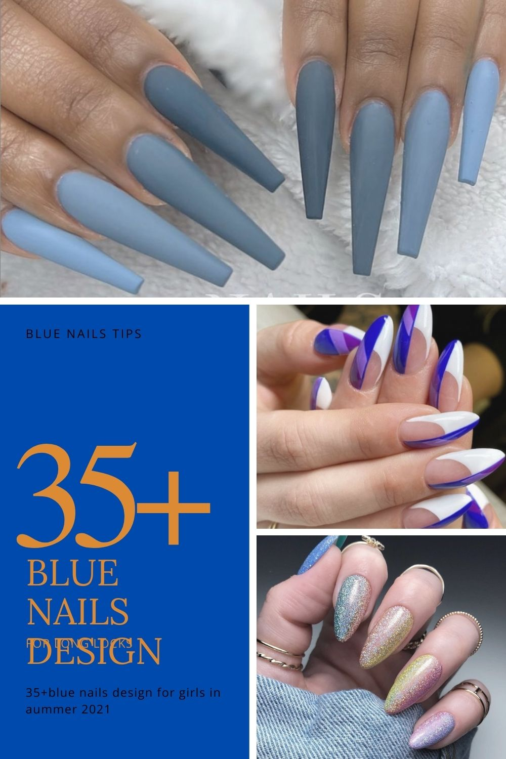 bule acrylic coffin nails ideas for woman