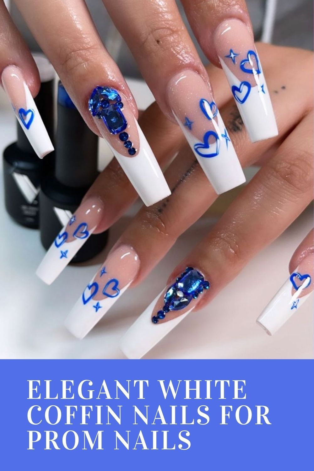 40 Acrylic White Coffin Nails For Prom Nail Design 2021!