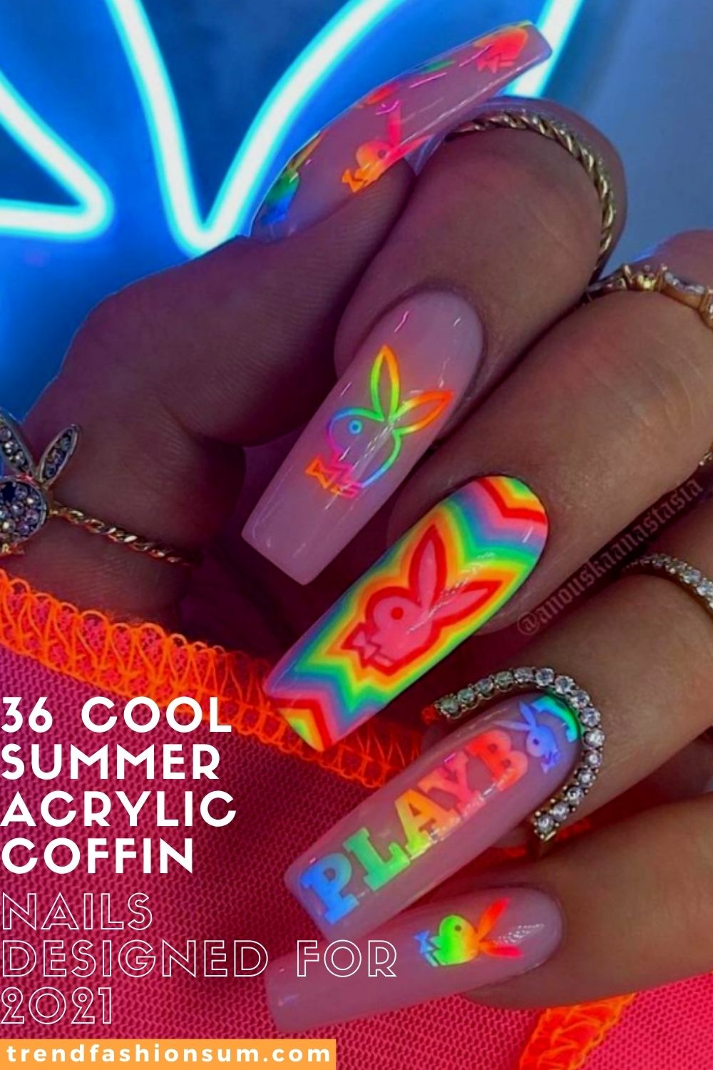 36 Cool Summer Acrylic Coffin Nails Designed for 2021